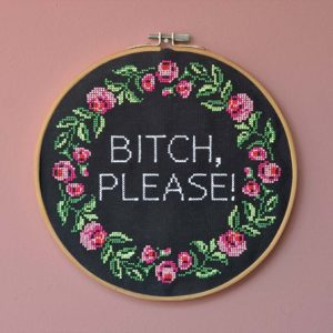 landkinder Stickbilder bitch please auf rosa