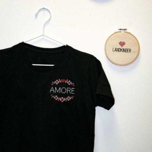 Landkinder T-Shirt bestickt Amore Damen schwarz