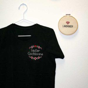 Landkinder T-Shirt bestickt Lauter Gschissane Damen schwarz