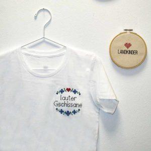 Landkinder T-Shirt bestickt Lauter Gschissane Damen weiß