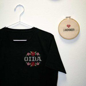 Landkinder T-Shirt bestickt Oida Herren schwarz