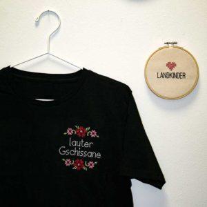Landkinder T-Shirt bestickt Lauter Gschissane Herren schwarz