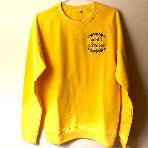 Pullover gelb Landkinder gehts scheissen